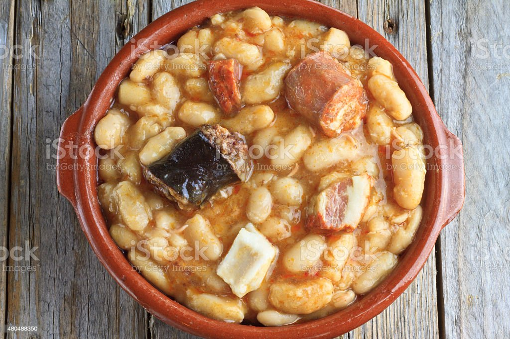 Spanish fabada in an earthenware dish stock photo