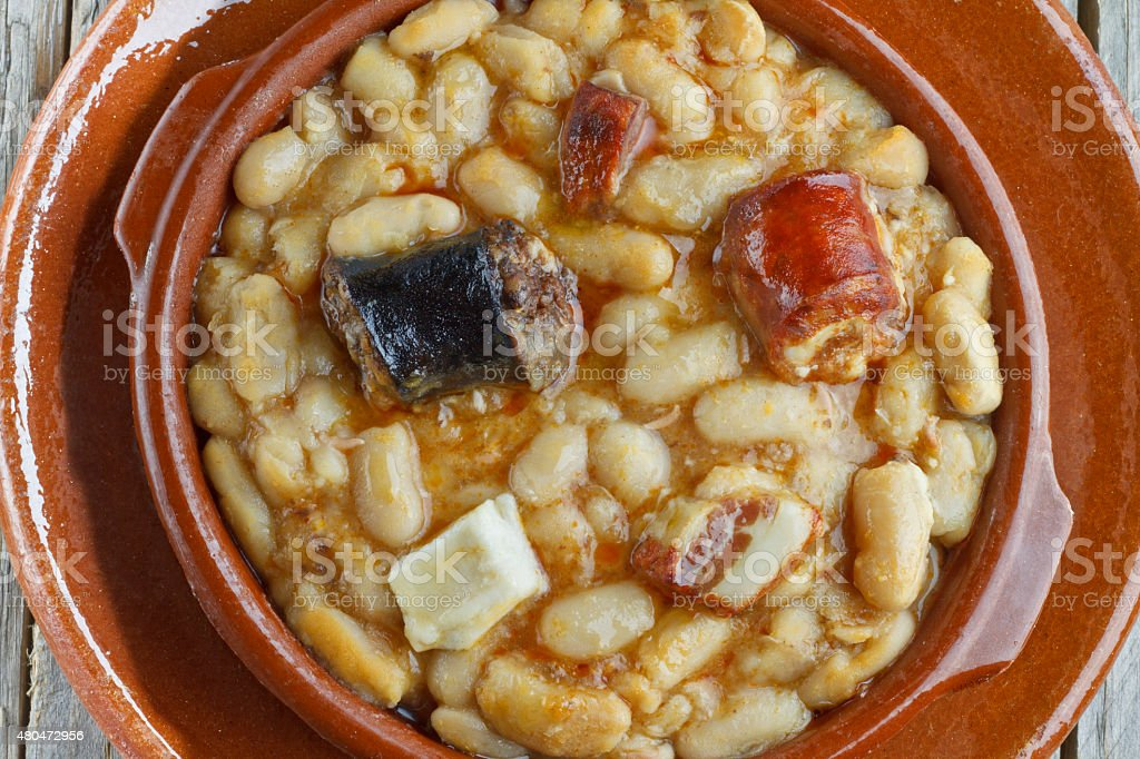 Spanish fabada in earthenware dishes stock photo