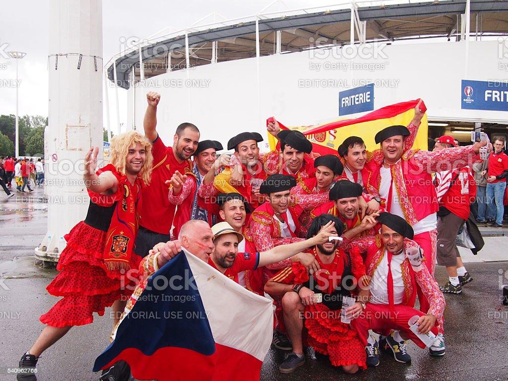 Spanish fans cheering stock photo
