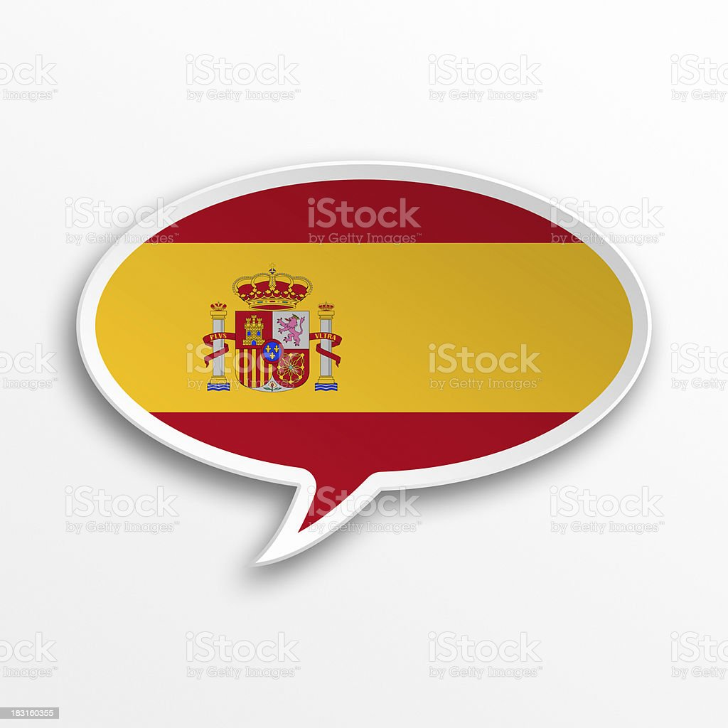 spanish flag 3d speech bubble stock photo
