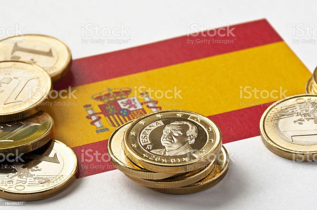Spanish Flag and Euros stock photo