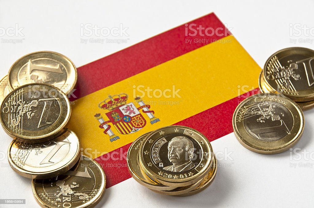 Spanish Flag and Euros royalty-free stock photo