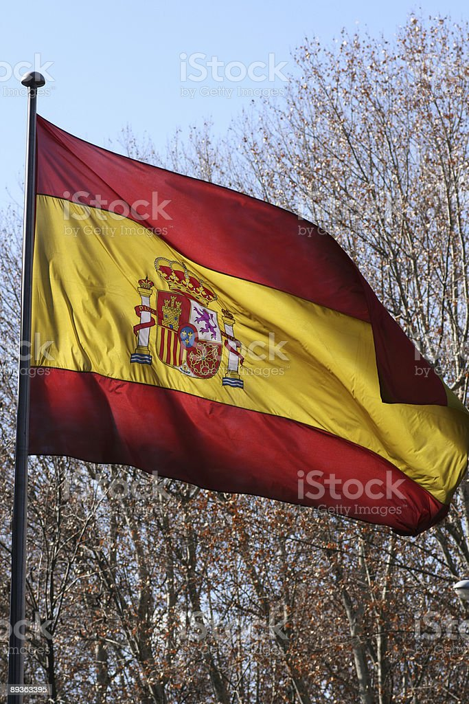 Spanish flag. Bandera Espa?ola a contraluz. royalty-free stock photo