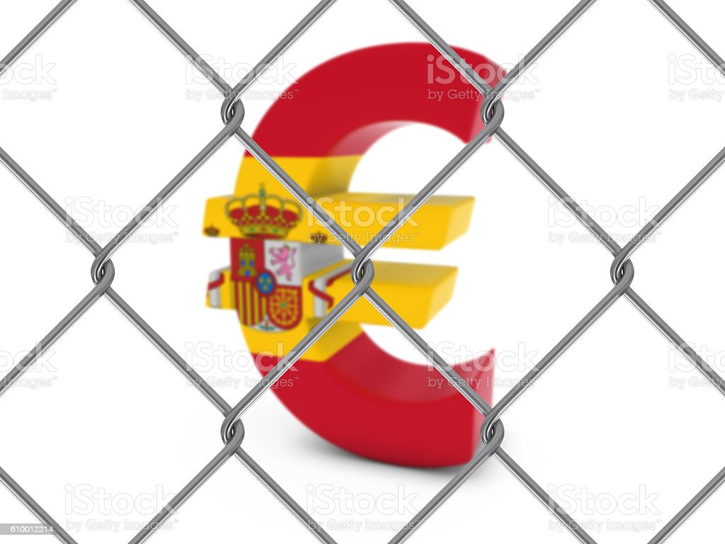 Spanish Flag Euro Symbol Behind Chain Link Fence stock photo