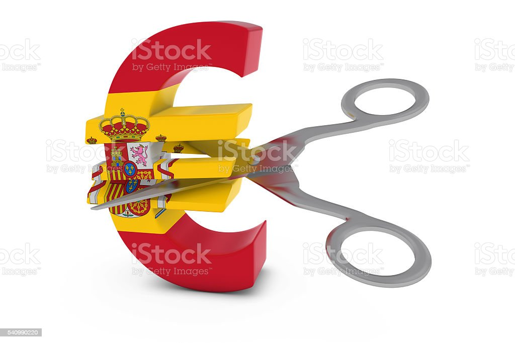 Spanish Flag Euro Symbol Cut in Half with Scissors stock photo