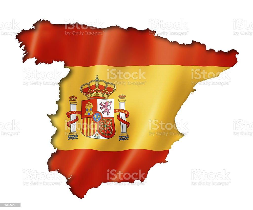 Spanish flag map stock photo