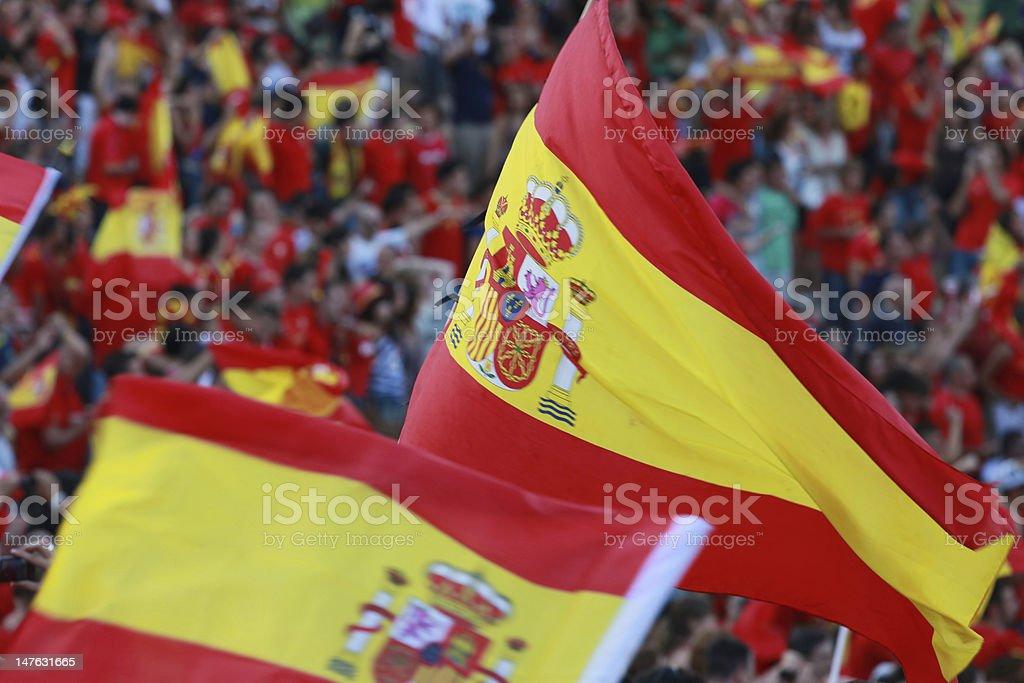 Spanish flag on a football stadium stock photo