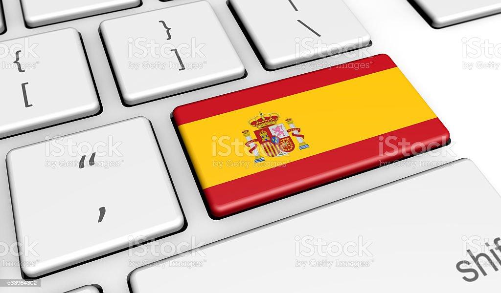 Spanish Flag On Computer Keyboard stock photo