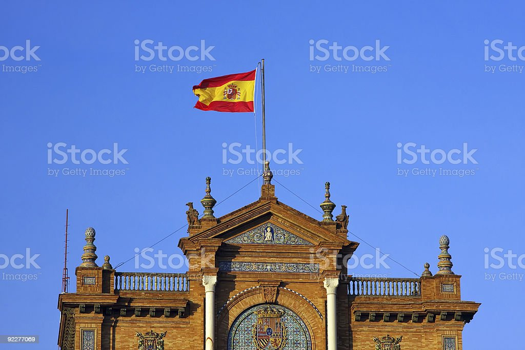 Spanish flag, Plaza de Espana royalty-free stock photo