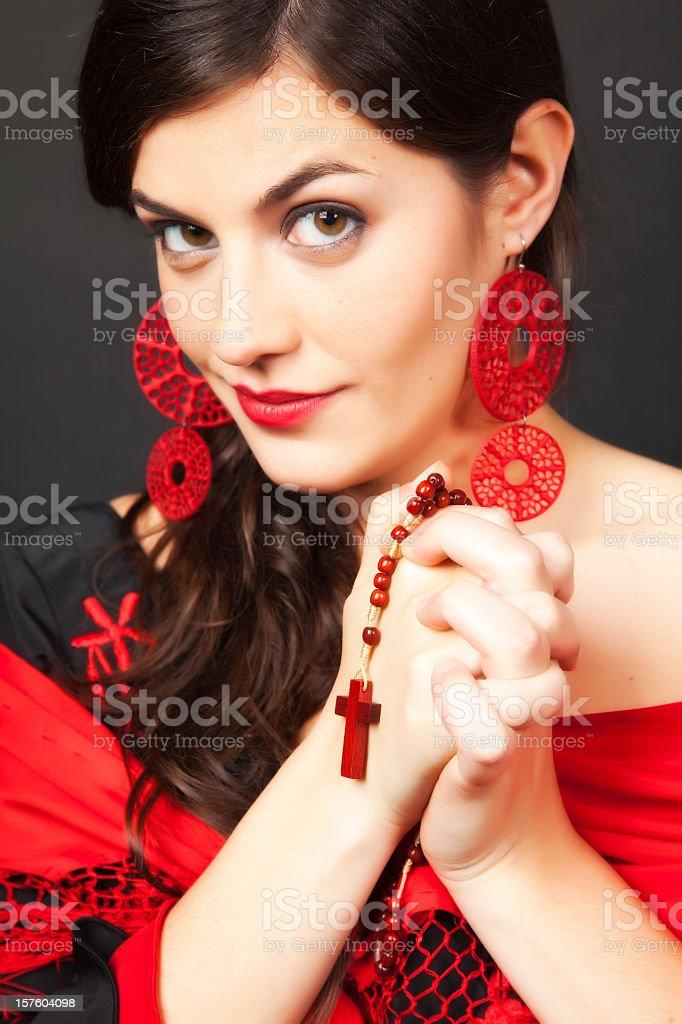 Spanish flamenco dancer praying stock photo