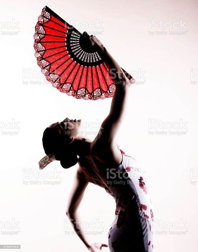 spanish flamenco  dancer with fan stock photo