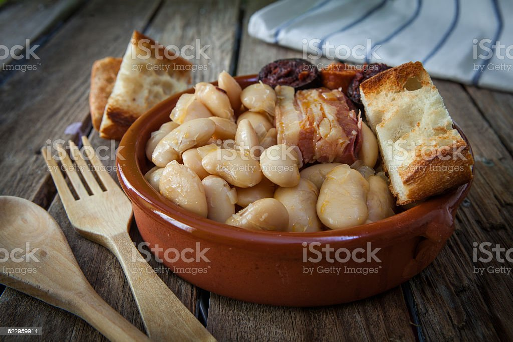 Spanish food fabada stock photo