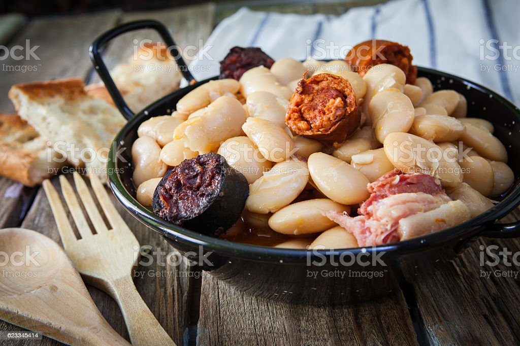 Spanish food fabada stock photo