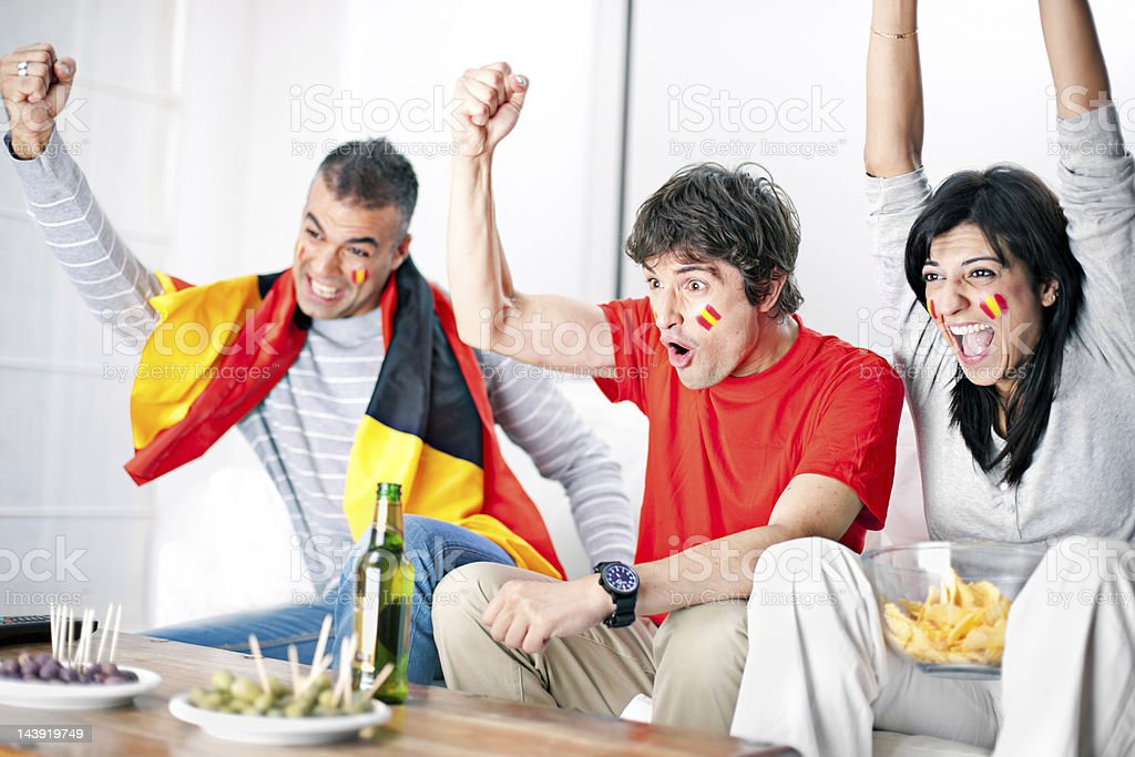 Spanish football supporters stock photo