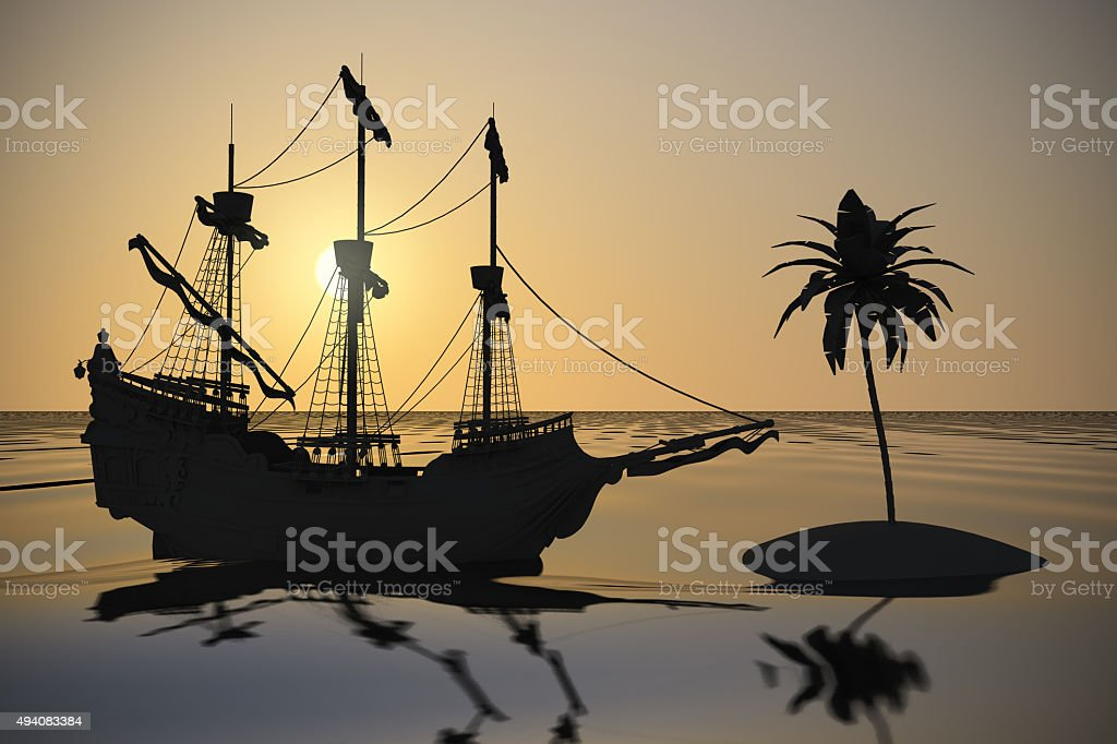 Spanish Galleon finds a palm tree at dusk stock photo