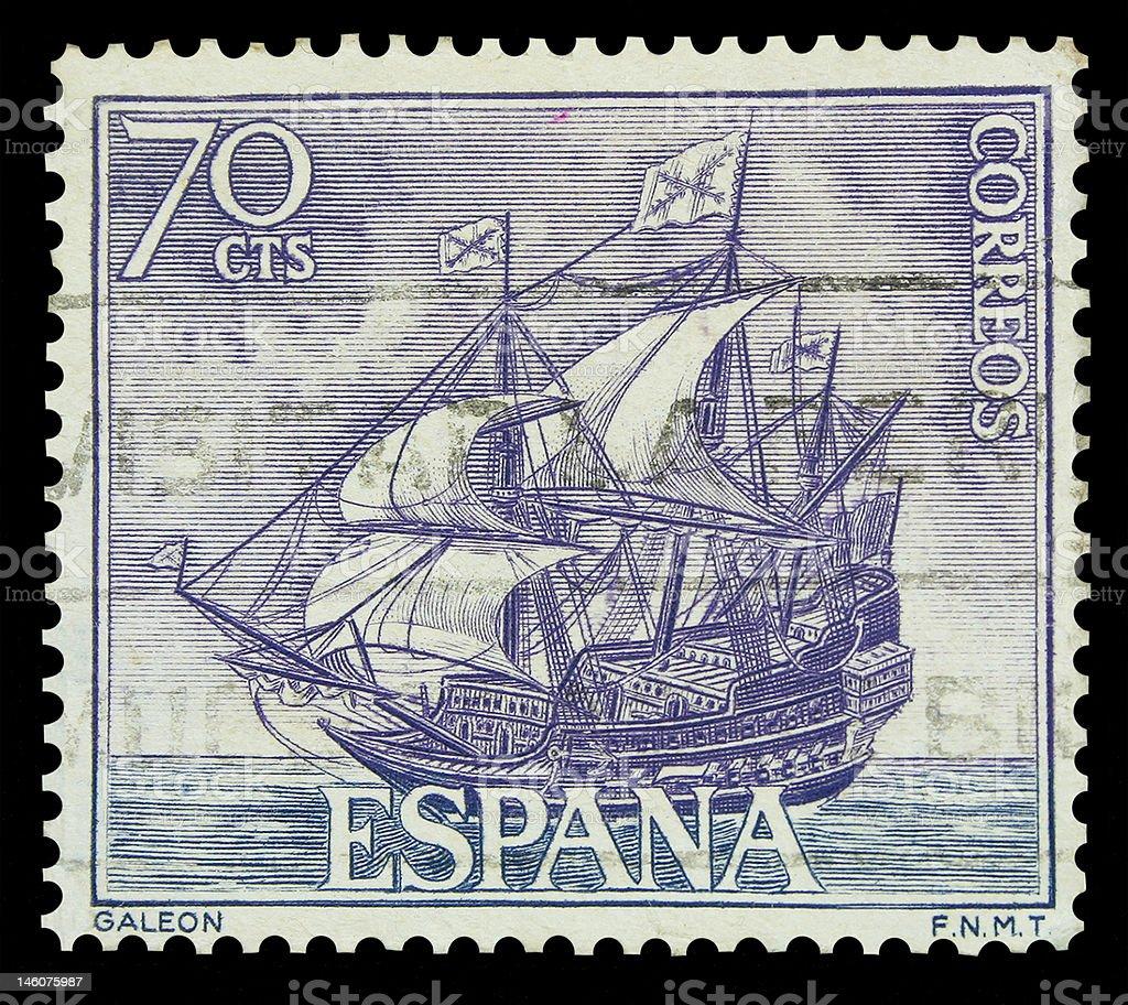 Spanish Galleon Postage Stamp stock photo