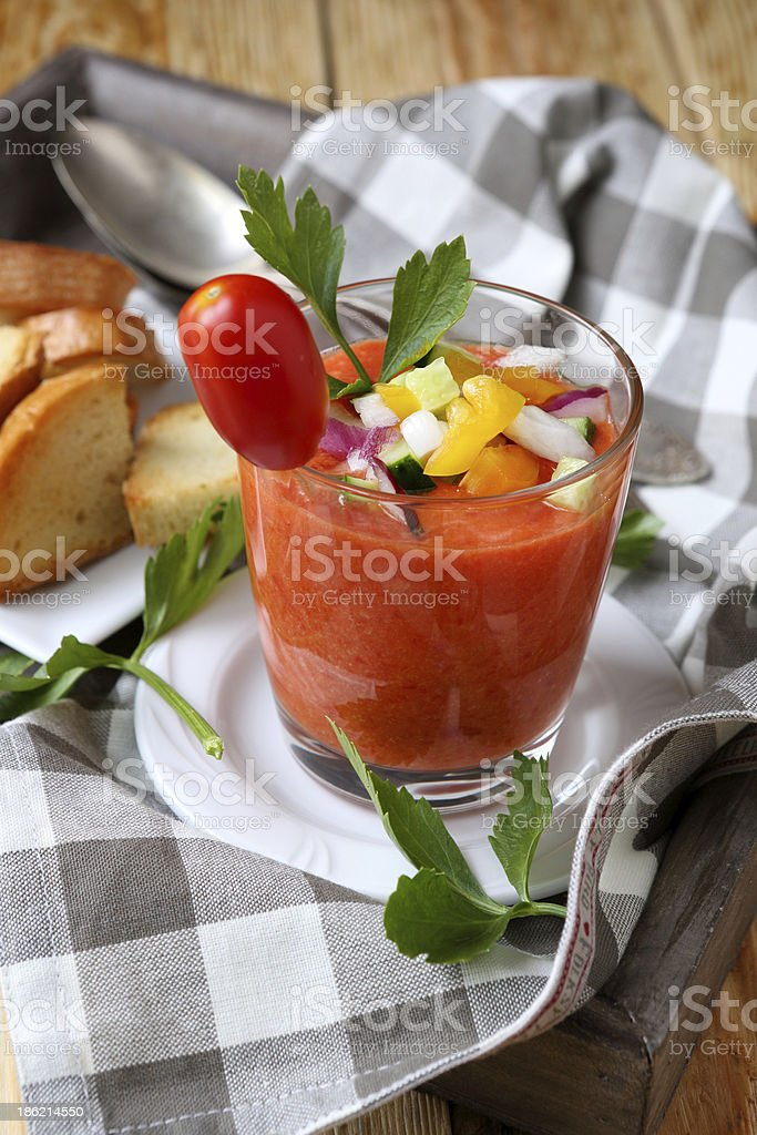 Spanish gazpacho soup in a glass royalty-free stock photo