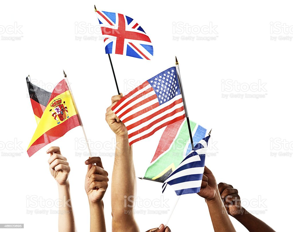 Spanish, German, American, British, Greek and South African flags waved stock photo