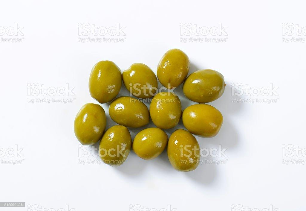 Spanish green olives stock photo