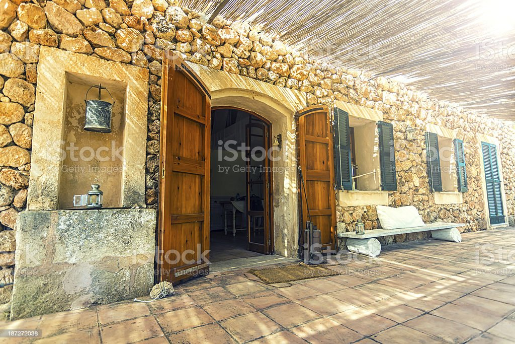 Spanish house with sunlight stock photo