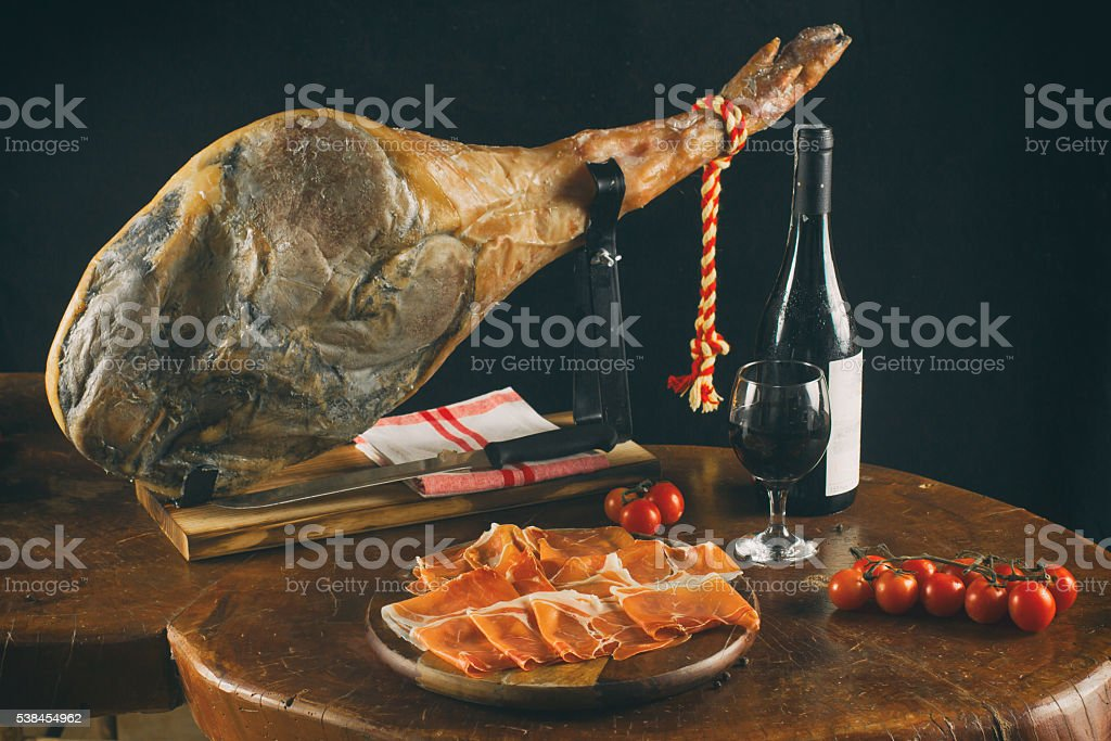 Spanish Jamon Serrano. stock photo