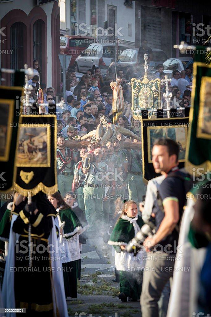 Spanish Legionnaires holding a religious image stock photo