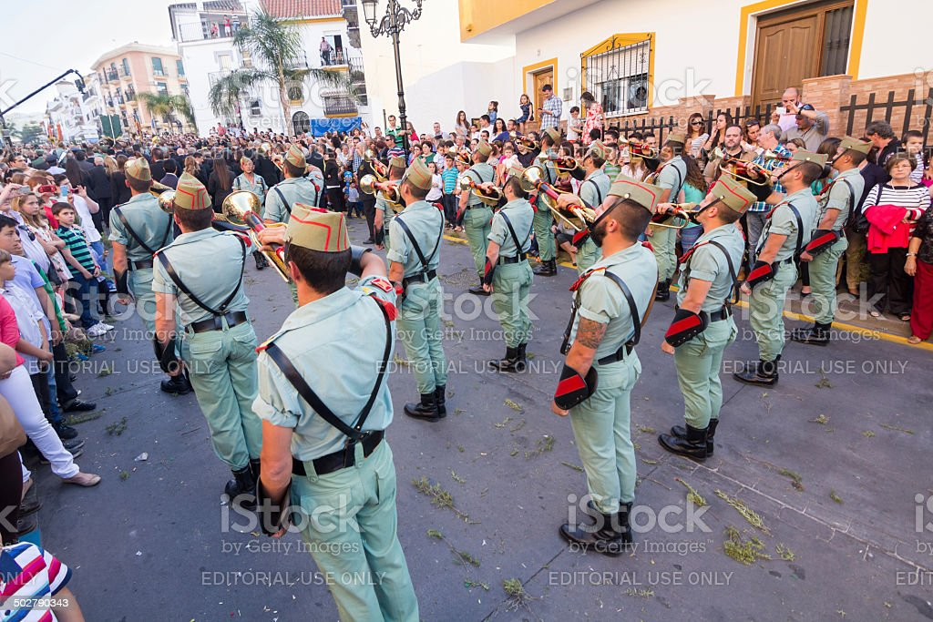 Spanish Legionnaires with cornets stock photo