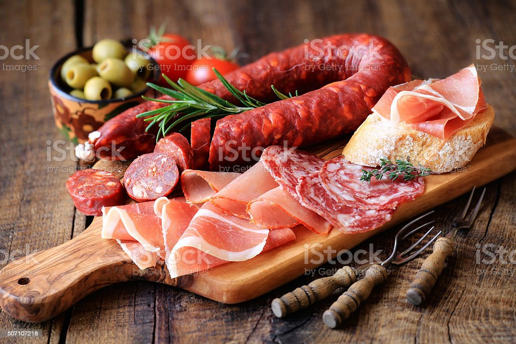 Spanish meat tapas stock photo