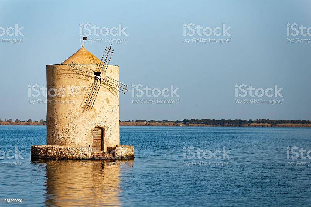 Spanish mill in the lagoon of Orbetello (close up) stock photo