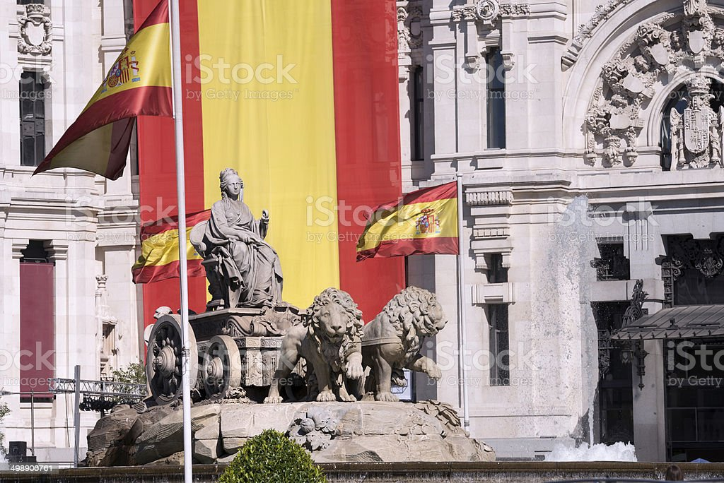 Fountain of La Cibeles in Madrid (Spain) stock photo