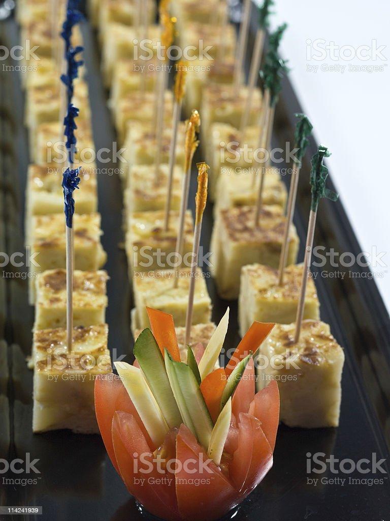 Spanish Omelet Snacks Tray stock photo