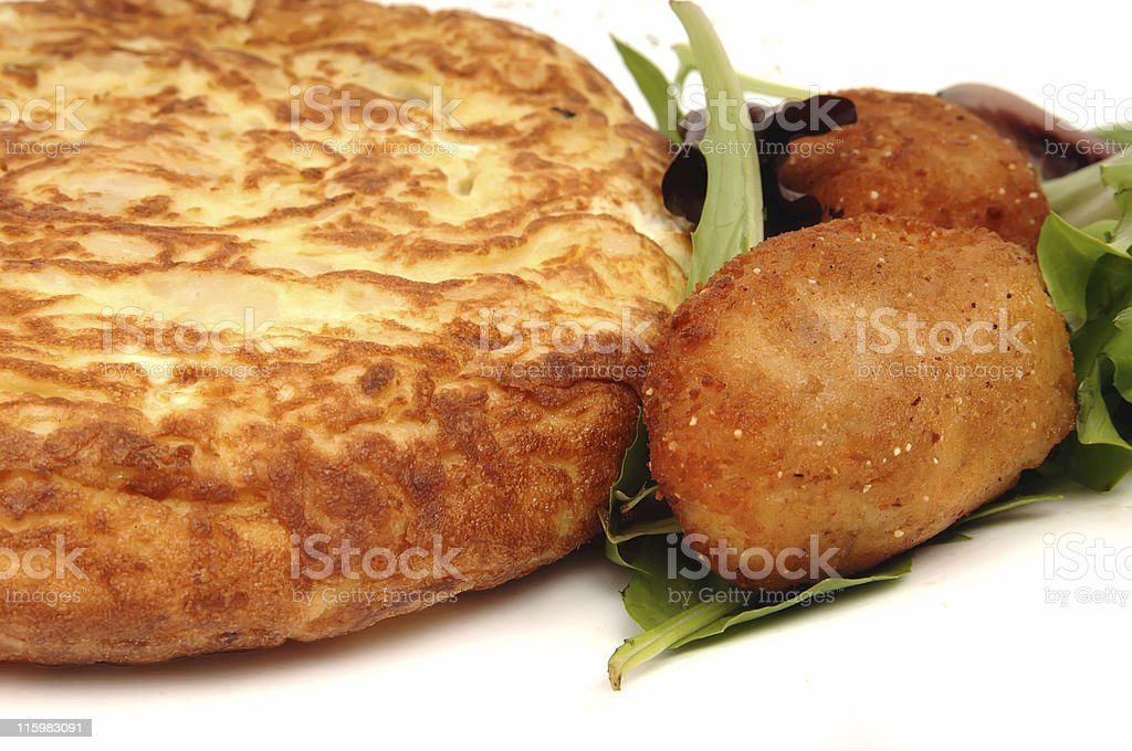 Spanish Omelette and Croquettes stock photo