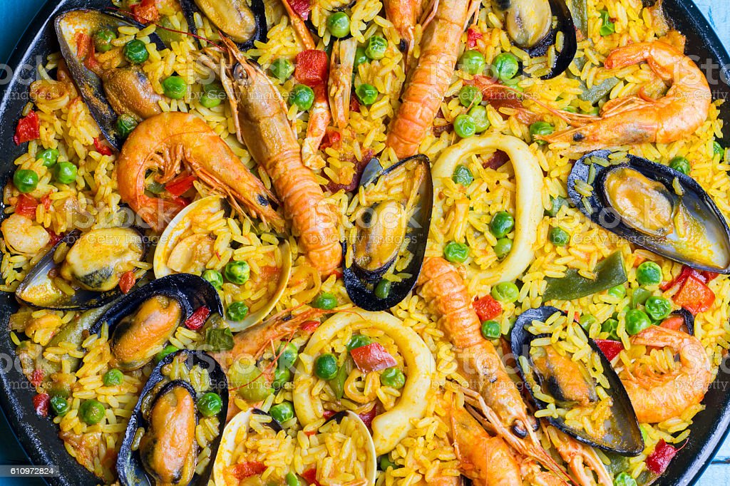 Spanish Paella close up stock photo