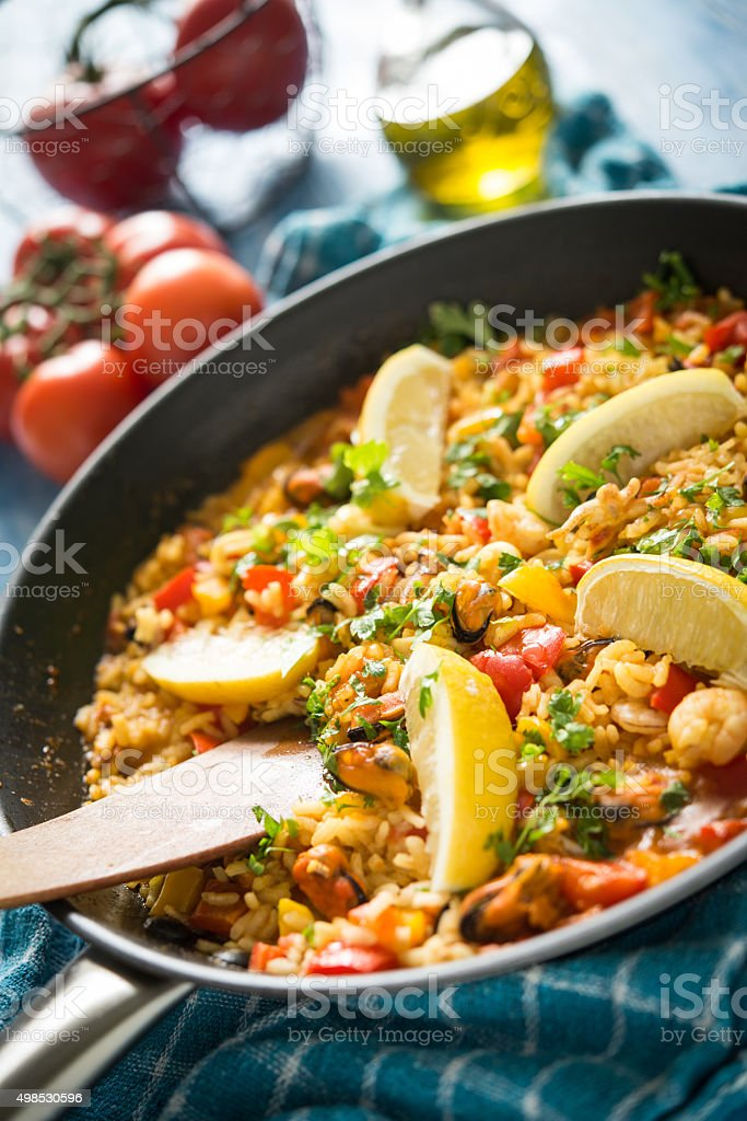 Spanish paella with seafood stock photo