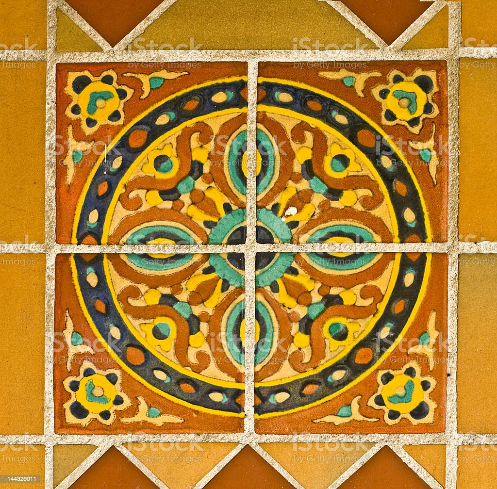 Spanish Painted Tiles Circle Pattern stock photo