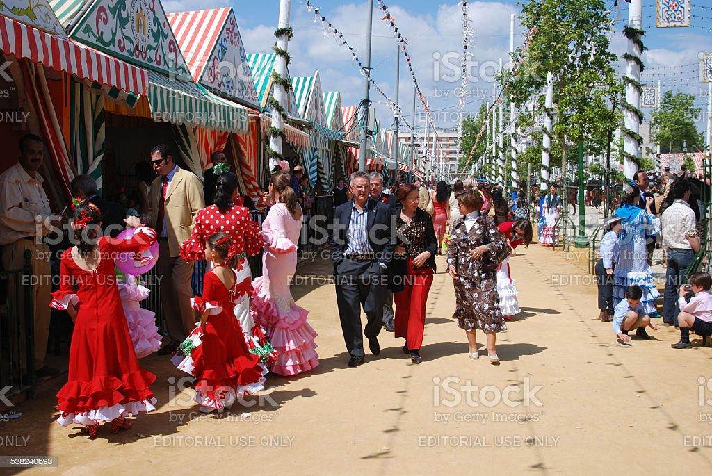Spanish people at the Seville Fair. stock photo