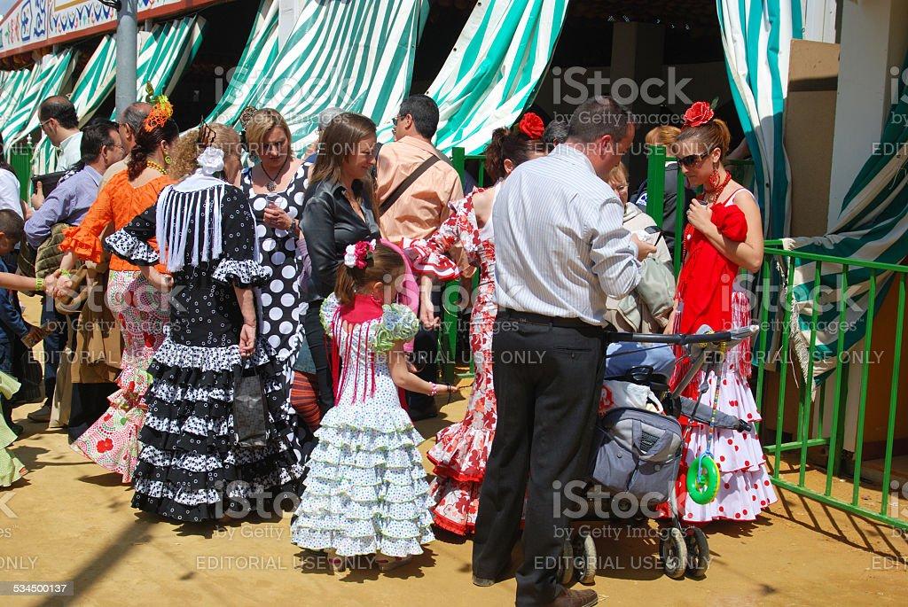 Spanish people at the Seville Fair, Spain. stock photo