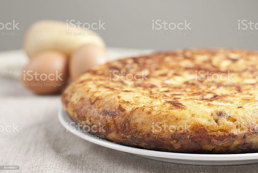 Spanish potatoe omelete close-up royalty-free stock photo