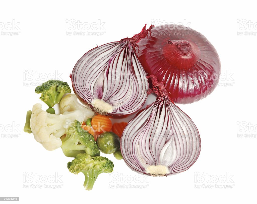 Spanish red onion and different vegetables royalty-free stock photo