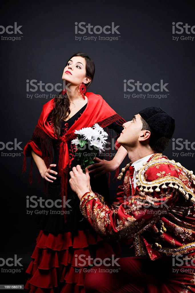 Spanish romance bullfighter in love with flamenco dancer. royalty-free stock photo