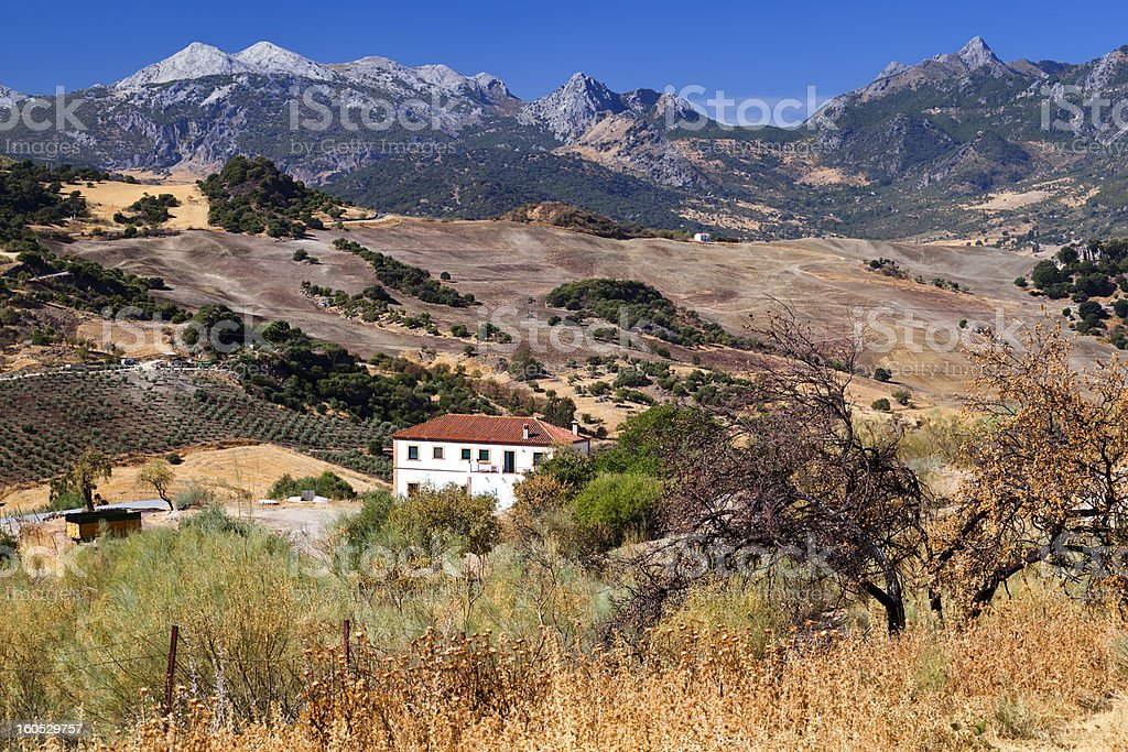 Spanish rural landscape with mountains royalty-free stock photo