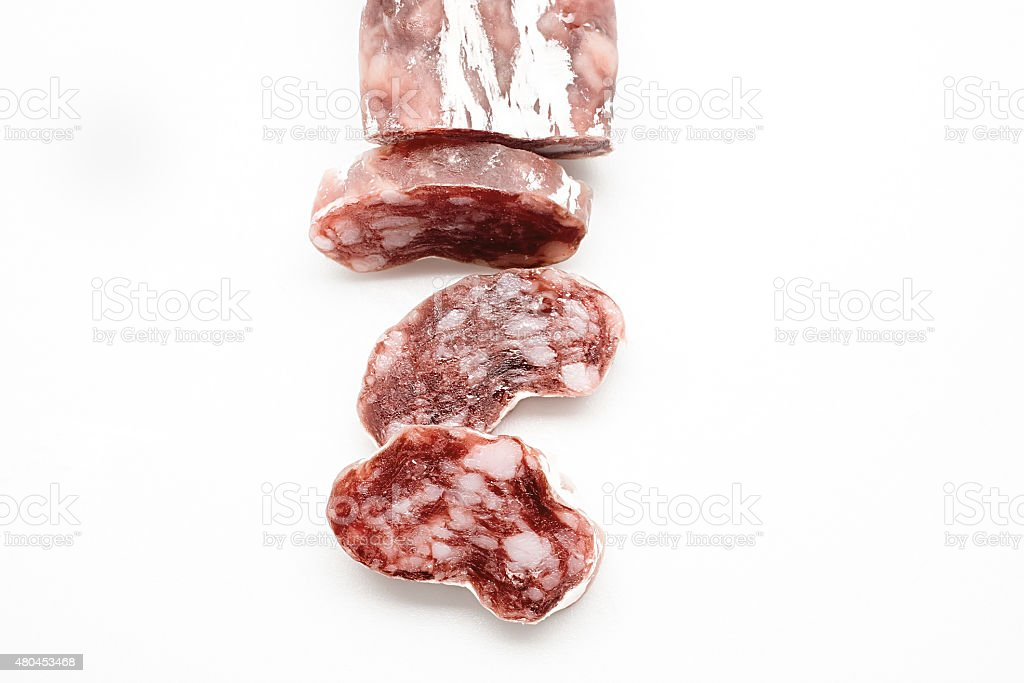 Spanish salami fuet on white background stock photo