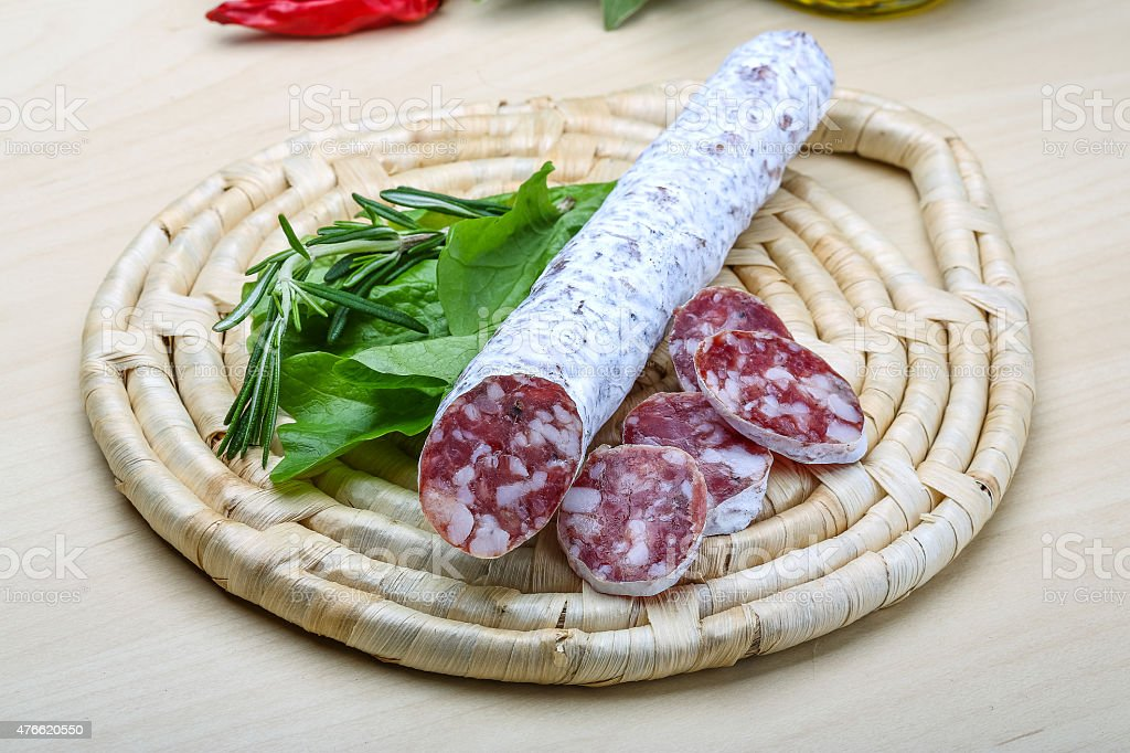 Spanish sausage - fuet stock photo