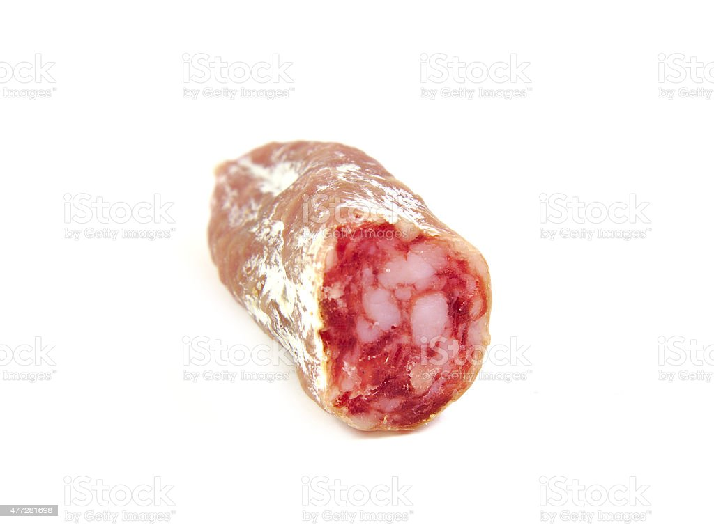 Spanish sausage, fuet, salami on a white background stock photo