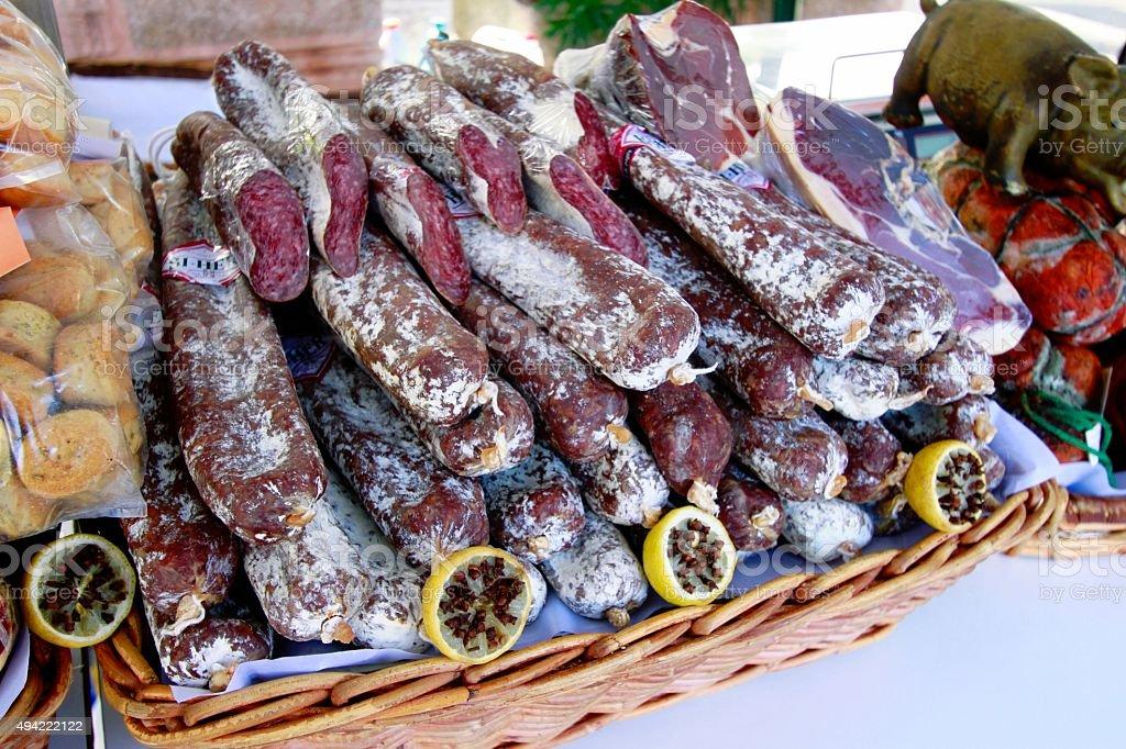 Spanish sausage stock photo