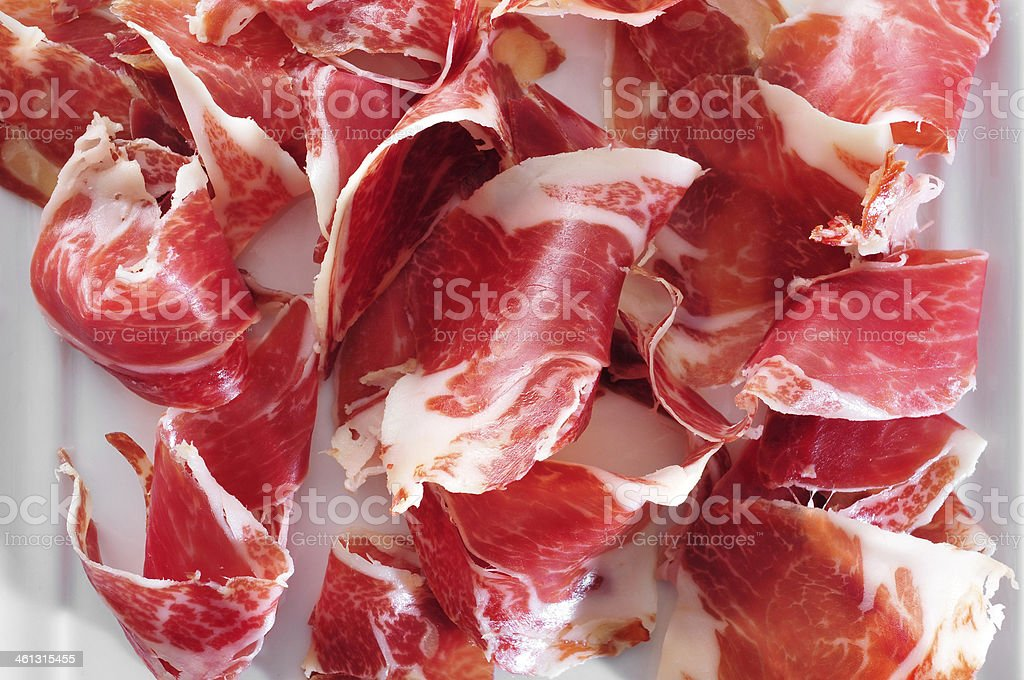 spanish serrano ham served as tapas stock photo