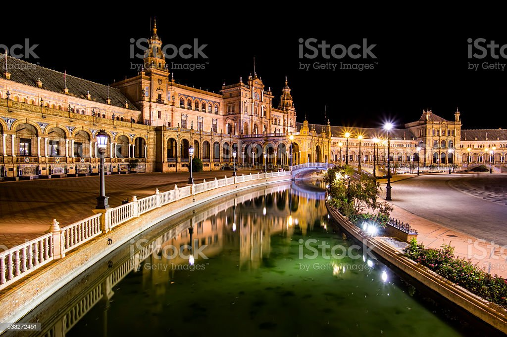 Spanish Square (Plaza de Espana) in Sevilla at night. stock photo