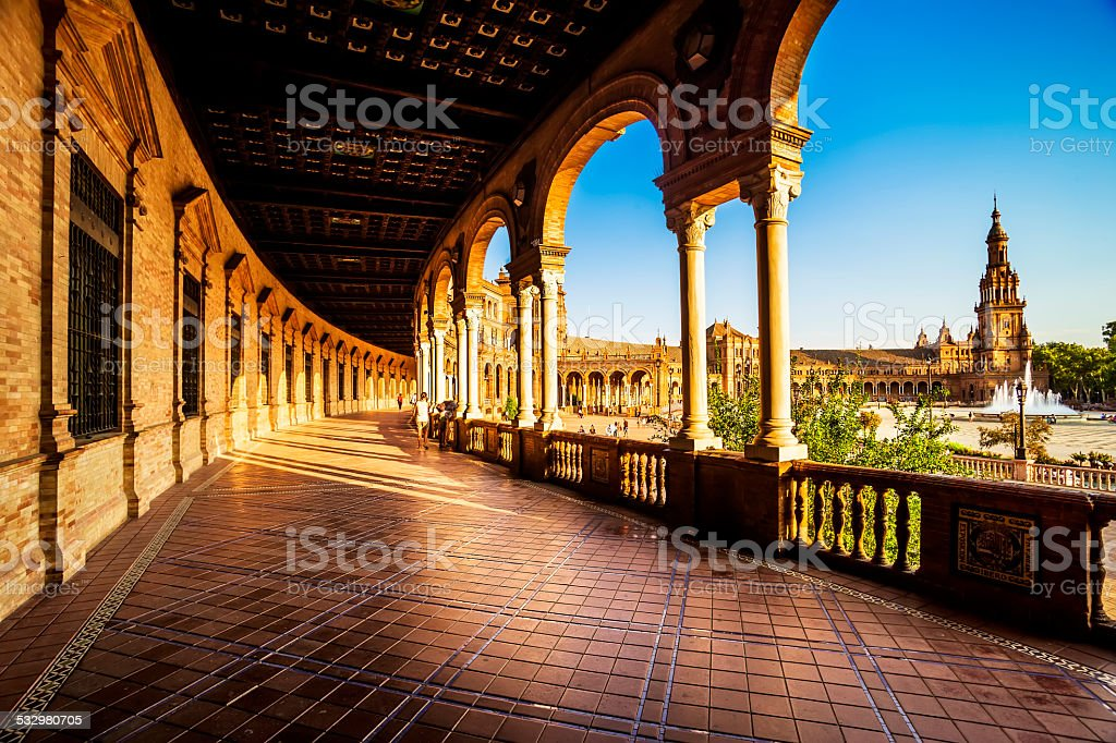 Spanish Square (Plaza de Espana) in Sevilla at sunset, Spain. stock photo