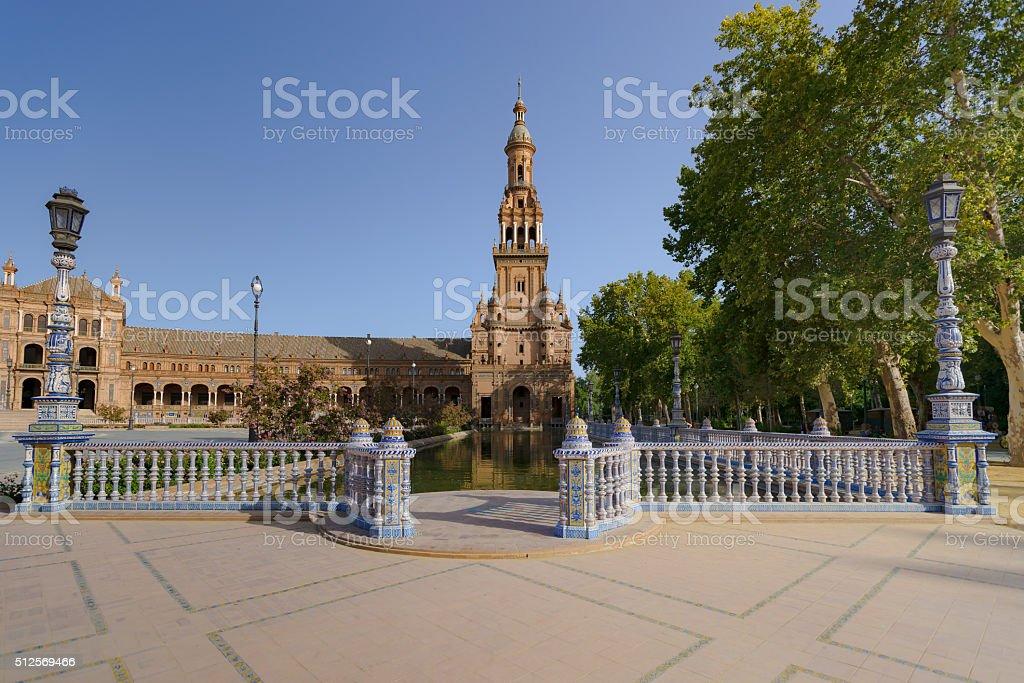 Spanish Square in Sevilla, The Plaza de España, Spain stock photo