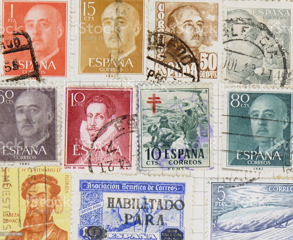Spanish Stamps stock photo